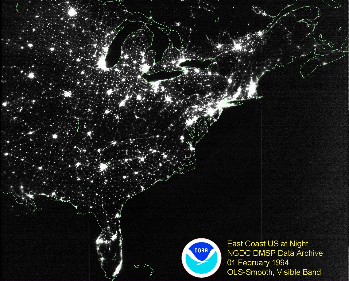 Billions Of Watts Of Wasted Electricity Stream Continually Into E As Light From Cities And Towns In Eastern North America Although Light Pollution Can